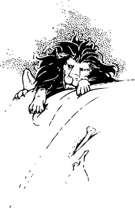 free vector Lion And Bone clip art