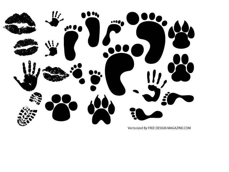 free vector Lip footprints shoe prints fingerprint vector