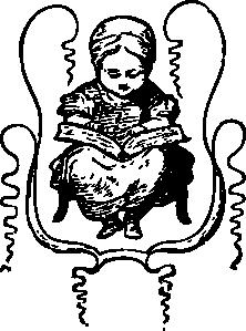 free vector Little Girl Reading clip art