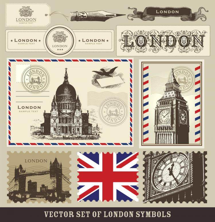 free vector London and paris a symbol of stamps 02 vector