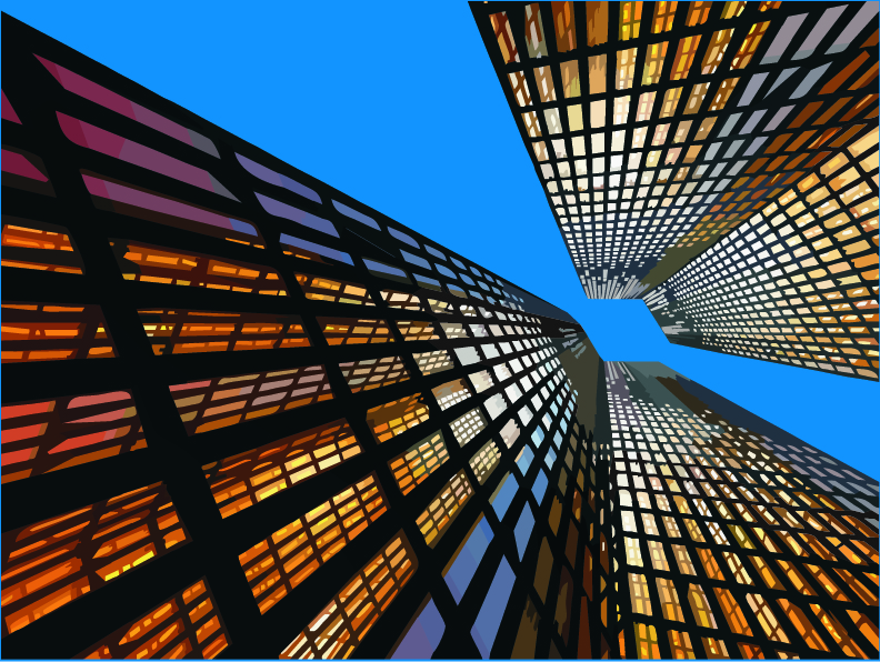 free vector Look up highrise buildings vector