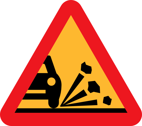 free vector Loose Stones On The Road Roadsign clip art