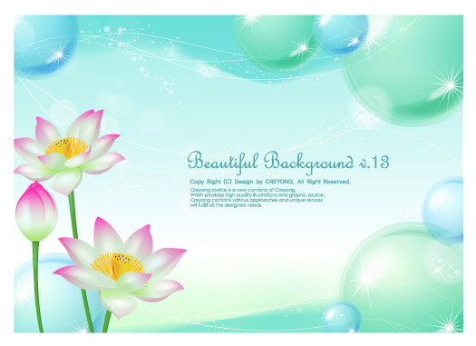 free vector Lotus and water bubbles background vector