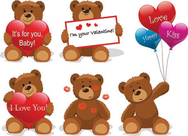 free vector Love for teddy bear clip art
