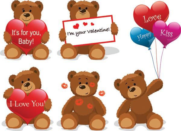 free vector Love for teddy bear clip art