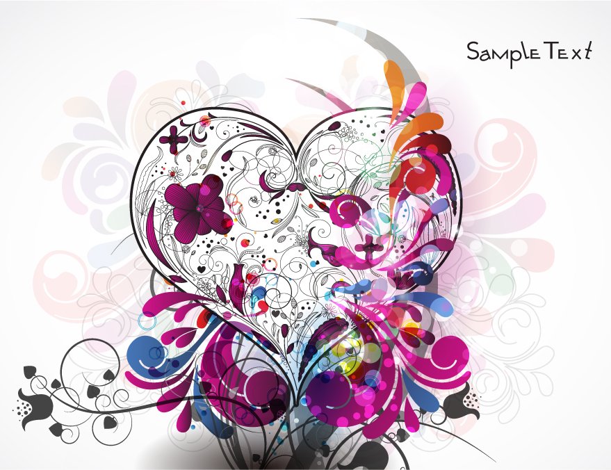 free vector Love the composition pattern vector