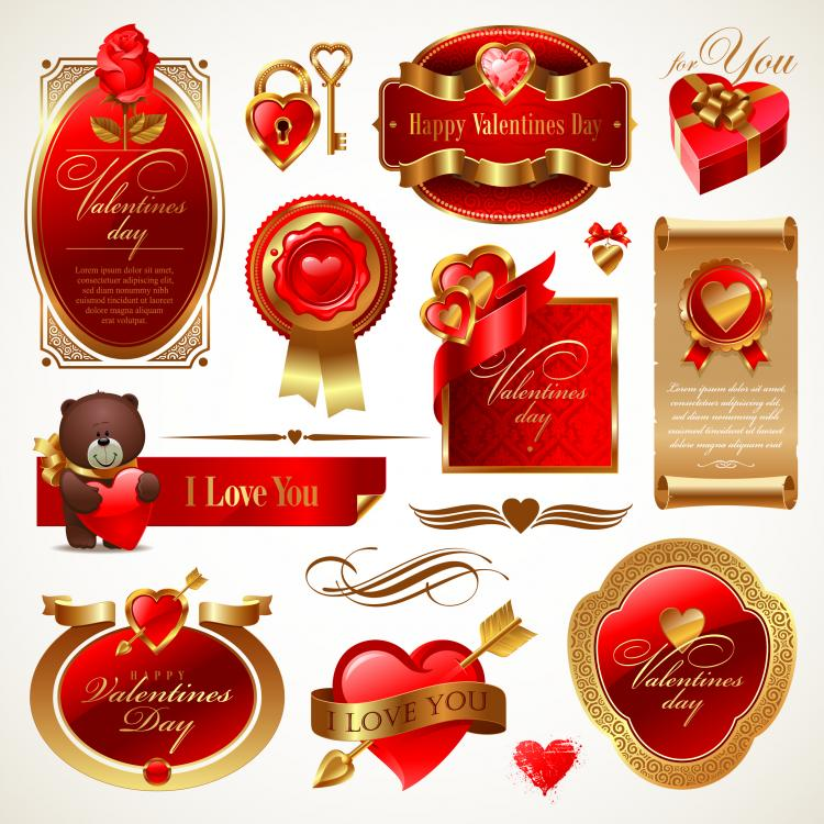 free vector Love the red elements vector