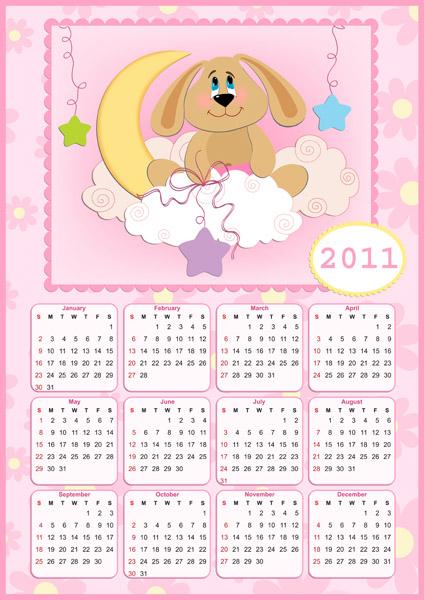 free vector Lovely 2011 calendar poster vector