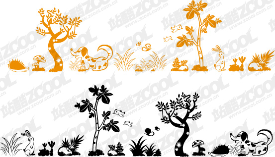 free vector Lovely animal and plant material vector
