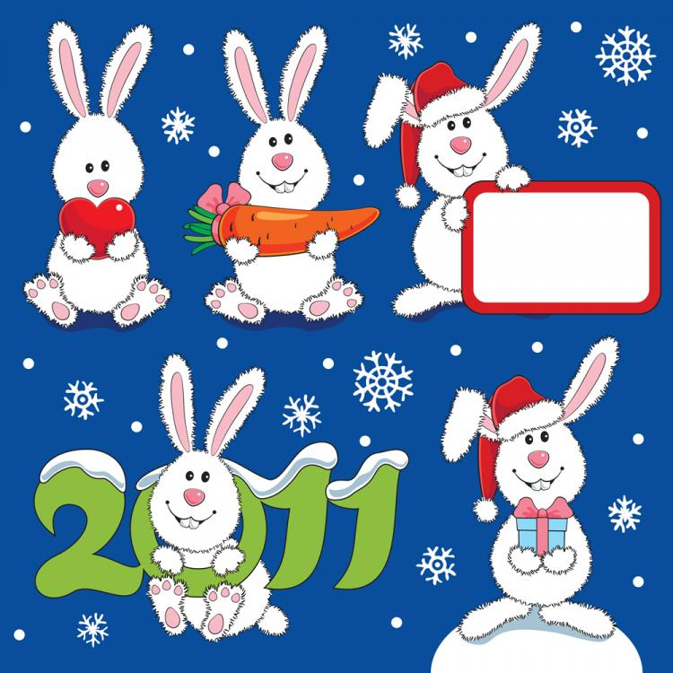 free vector Lovely christmas rabbit vector