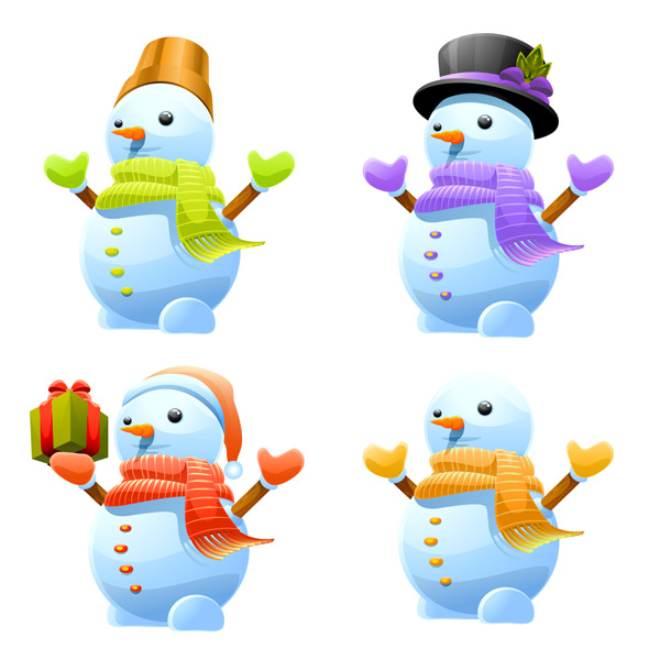 free vector Lovely christmas snowman vector