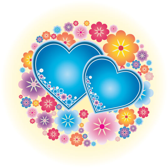 free vector Lovely color and the small heart-shaped blossoms