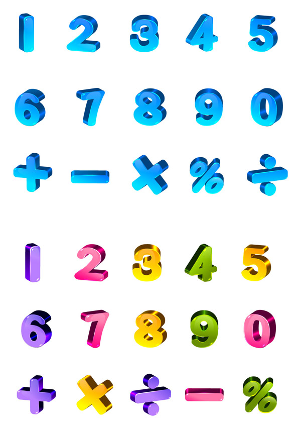 free vector Lovely color threedimensional letters and numbers vector