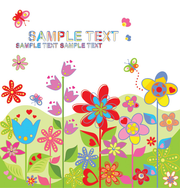 free vector Lovely colorful flowers vector