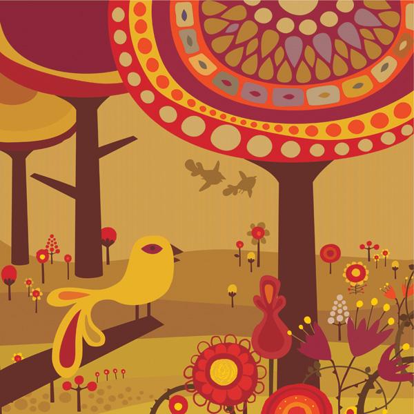 free vector Lovely fairytale world vector