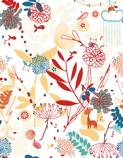 free vector Lovely flowers plant and animal material vector