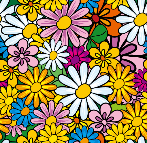 free vector Lovely flowers vector background material