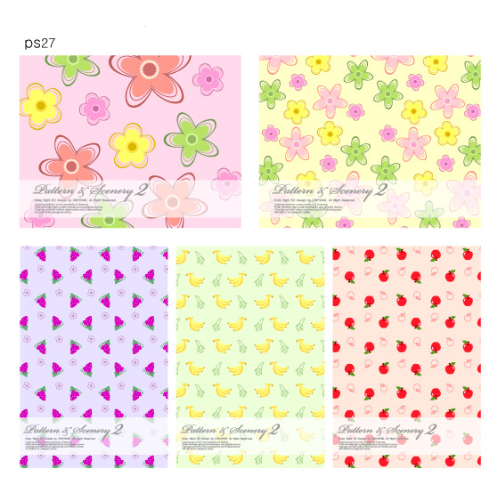 free vector Lovely fruit and flowers vector background