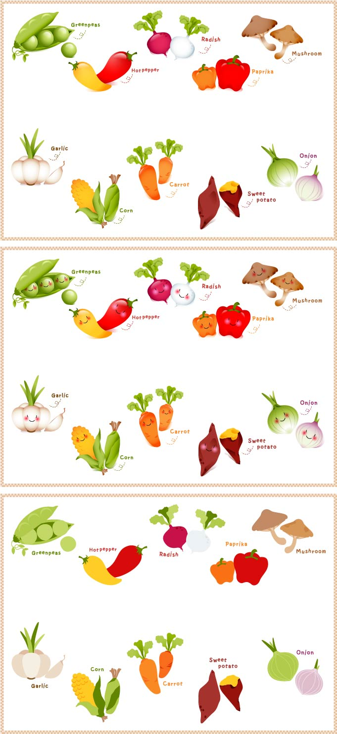 free vector Lovely fruits and vegetables vector