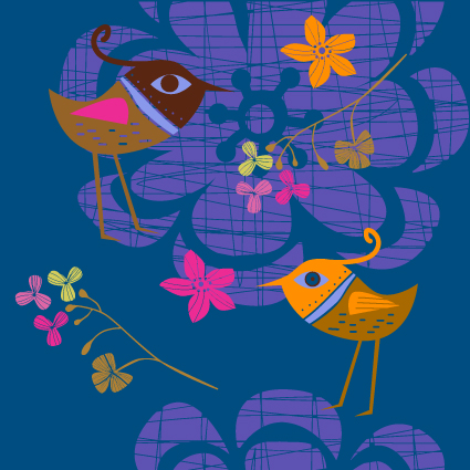 free vector Lovely handpainted flowers birds vector 2