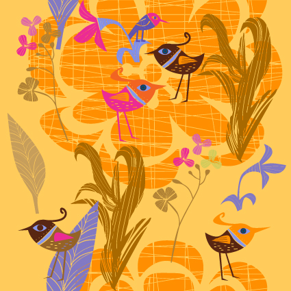 free vector Lovely handpainted flowers birds vector 5