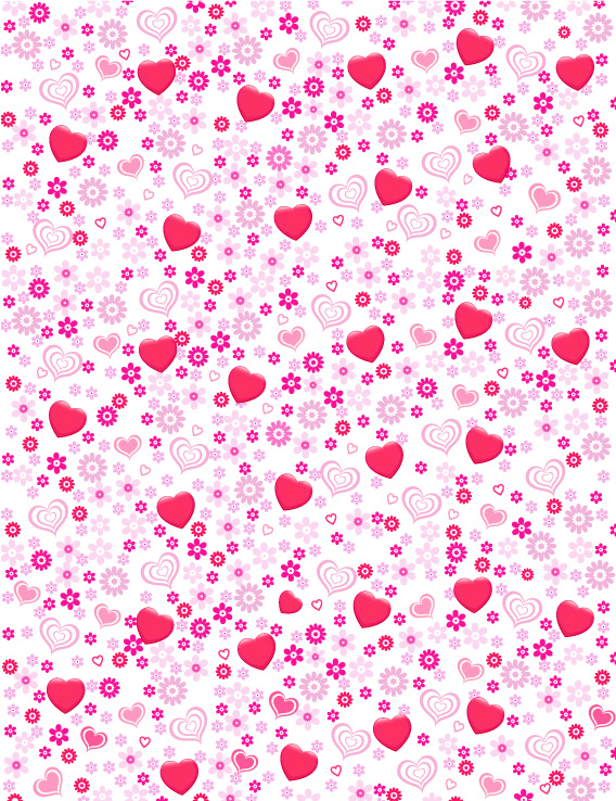 free vector Lovely heart-shaped flowers vector background material