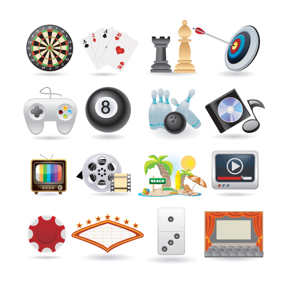 free vector Lovely life entertainment icons vector