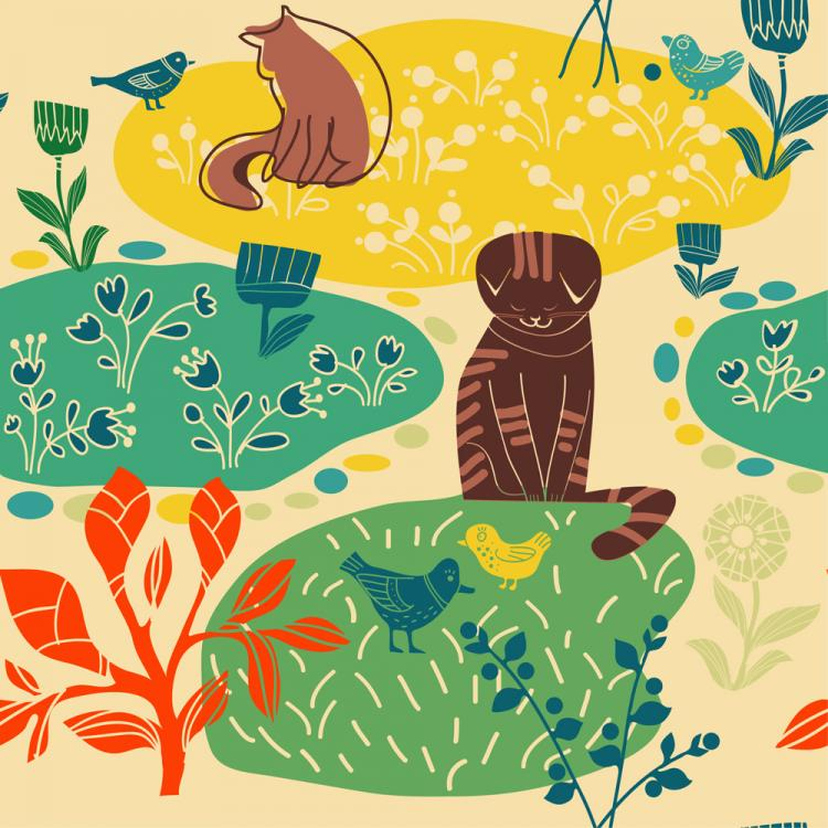 free vector Lovely lines issued cat pattern 02 vector