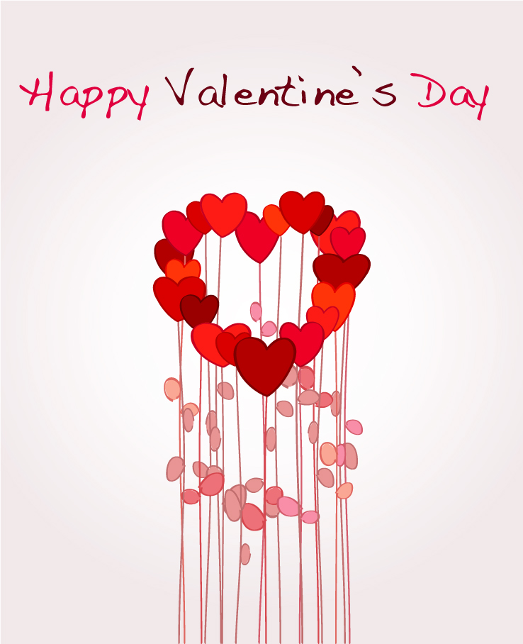 Lovely romantic valentine day greeting card vector Free Vector – Romantic Valentine Card Images