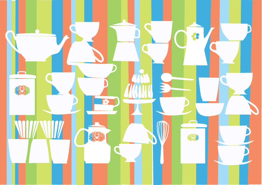 free vector Lovely tableware vector background material
