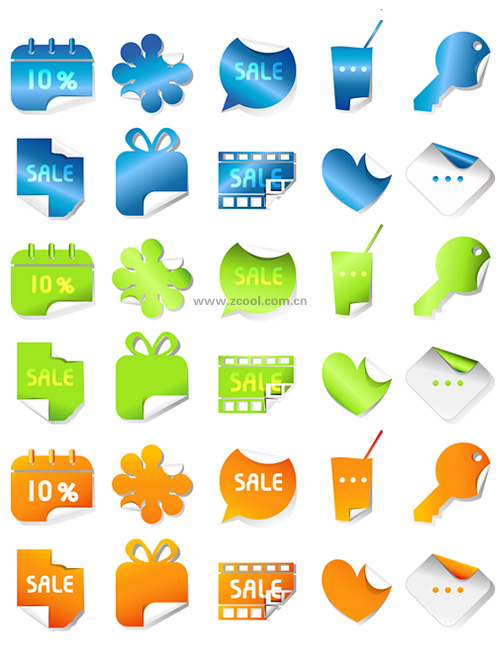 free vector Lovely threecolor stickers vector angular