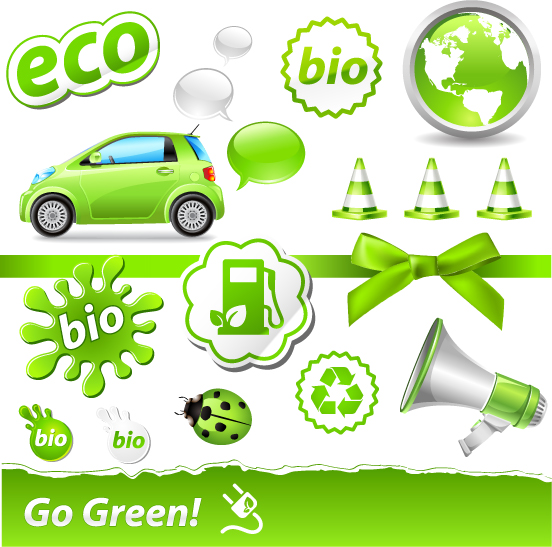 free vector Lowcarbon green theme icon vector