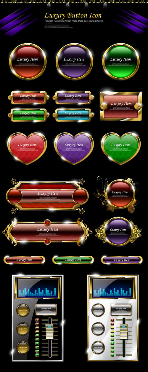 free vector Luxury common web buttons 02 vector