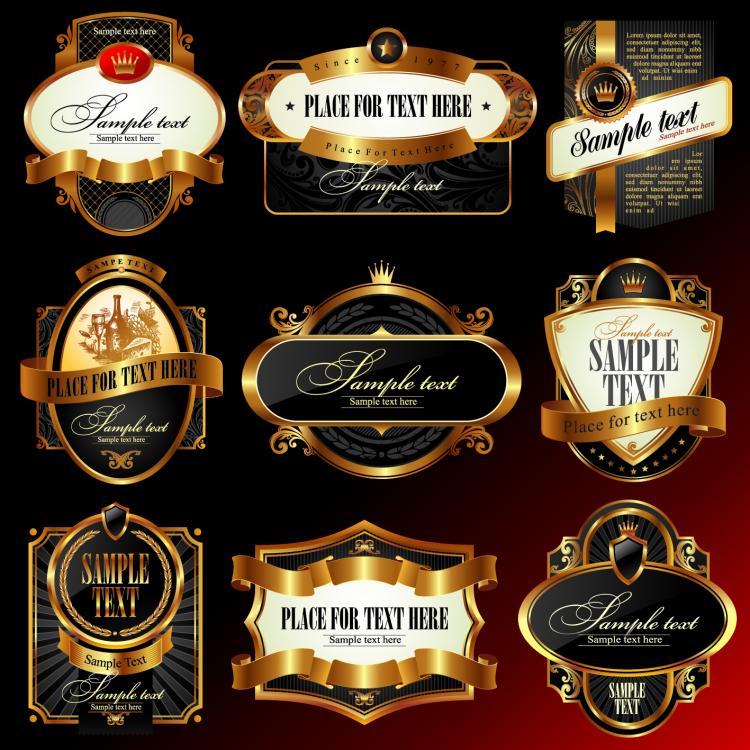 Luxury label design elements vector Free Vector / 4Vector
