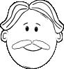 free vector Man Face World Label Outline clip art
