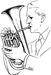 free vector Man Playing Alto Horn clip art