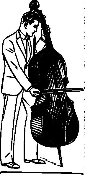 free vector Man Playing Contrabass clip art