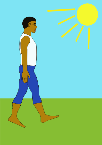 free vector Man Walking Sunny Day clip art