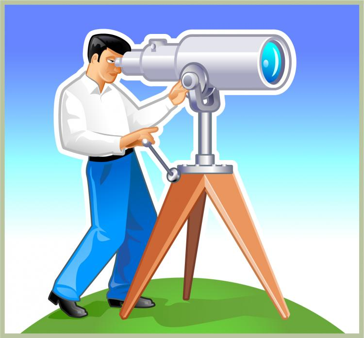 free vector Man with telescope vector