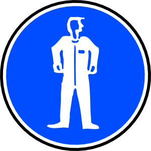 free vector Mandatory Bodily Protection Blue Sign Sticker clip art