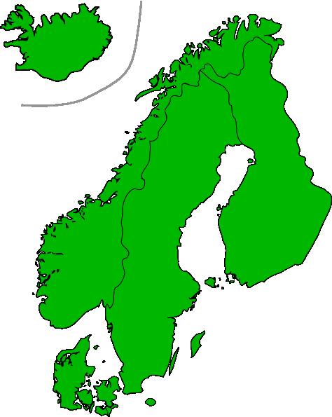 free vector Map Of Scandinavia clip art