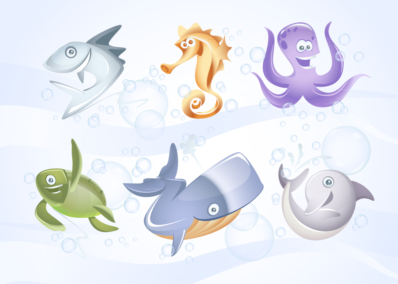 free vector Marine Vector Animals Collection