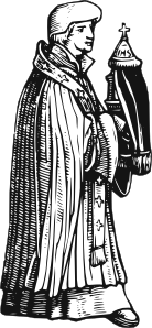 free vector Medieval Priest With Sacrament clip art