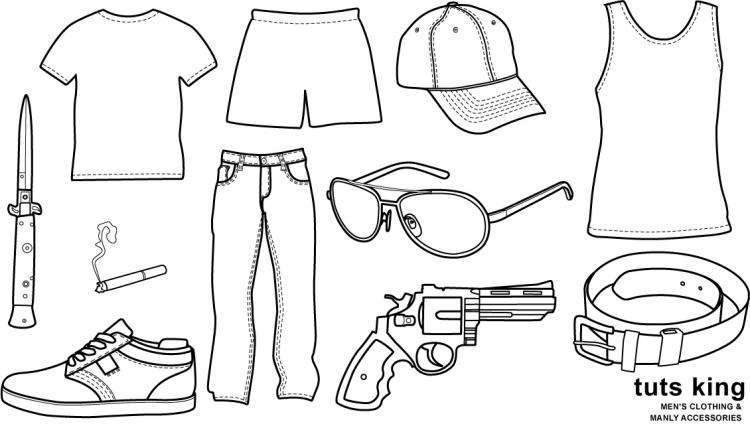 free vector Men wear clothing line drawing vector goods