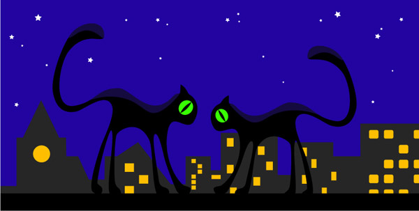 free vector Meow cat silhouette vector