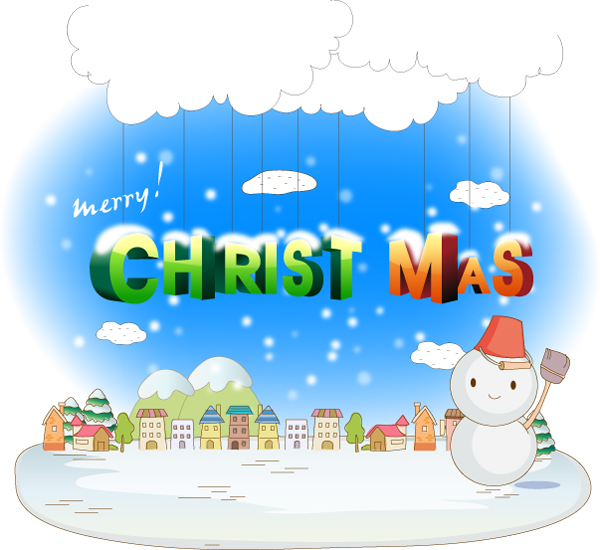 free vector Merry Christmas and a Happy New Year word vector material