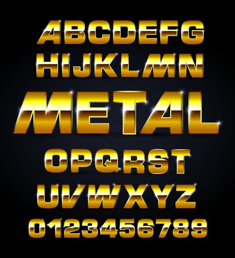 free vector Metal texture font design 02 vector
