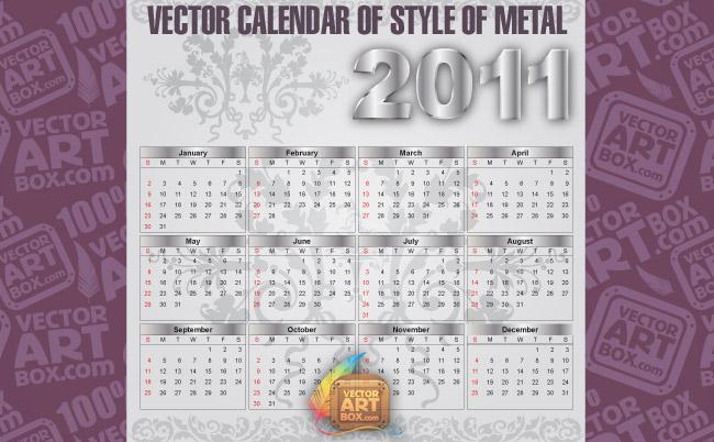 free vector Metal Vector Calendar