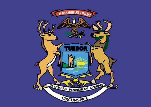 free vector Michigan State Flag And Coat Of Arms clip art