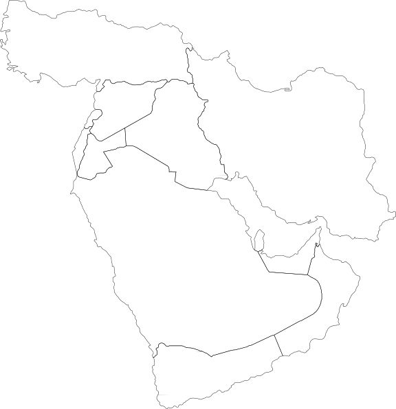 free vector Middle East Political Map clip art